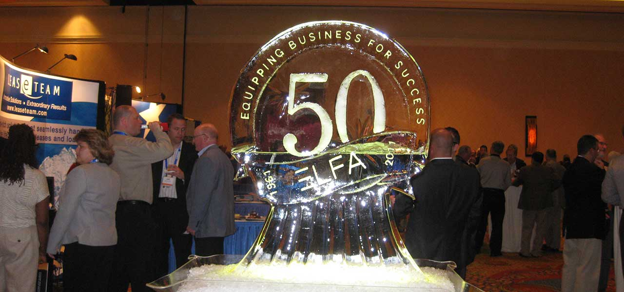 50th anniversary Logo sculpted in ice