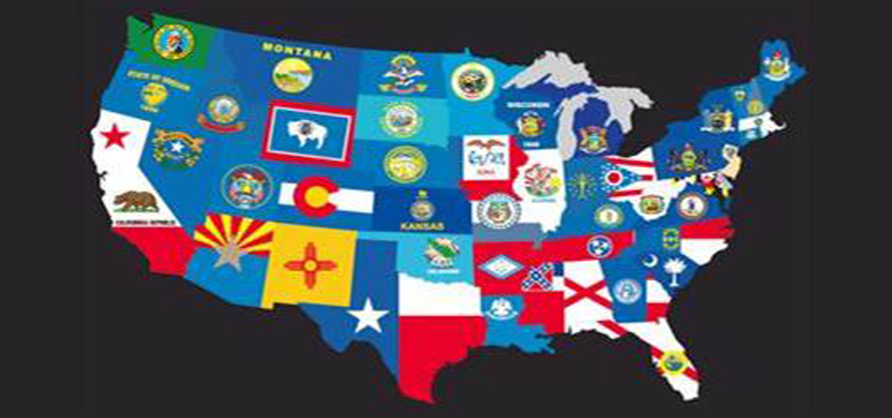 US Map of State Flags